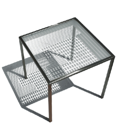Sandgestrahlter Glastisch